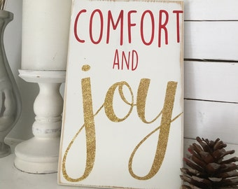 Comfort and joy sign, christmas sign, christmas decor, holiday decor, holiday wood sign, painted wood sign
