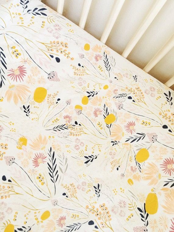 Beautiful Floral Crib Sheet Goldenv Flowers Baby Girl By