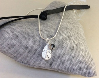 Feather pendant, feather necklace, silver plated necklace, glass bead charm, feather charm