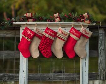 Christmas Stocking, Personalized Christmas stockings, Monogrammed Stockings, Red Christmas Stockings