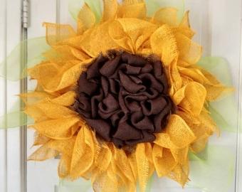 Sunflower Wreath, Burlap Sunflower Wreath, Xtra Large
