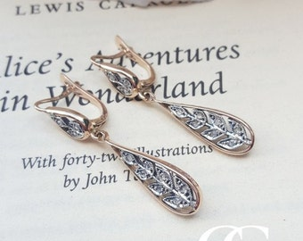 Antique Edwardian Style 9ct Rose Gold & Diamonds Drop Earrings