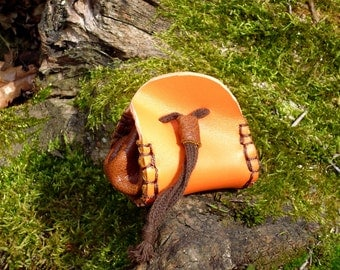 Purse leather Orange Medieval-Style ethnic and sustainable