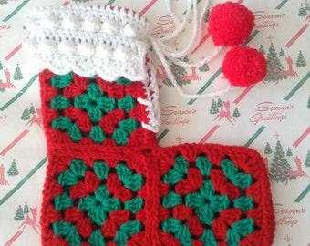 Vintage Handmade Crochet Stocking Red Pom-Poms~Medium