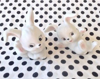 Vintage Homco Bunnies 1485 Set of 2 Roly Poly Bunny