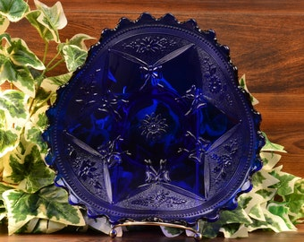 LG Wright Bowl, 1930's Sapphire Tri Fold Daisy and Bows Bridal Plate