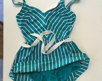 Vintage PinUp Style Aqua Blue Bathing Suit