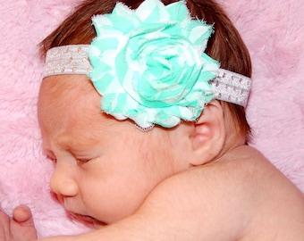 Teal Shabby Flower Headband