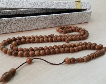 99 Count 6x5mm Kuka Wood Prayer Beads Tasbih Tesbih Rosary FREE SHIPPING