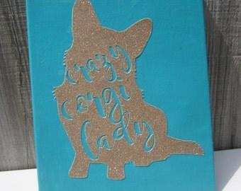Crazy Corgi Lady Canvas Cardigan or Pembroke Welsh Corgi Gold and Turqouise