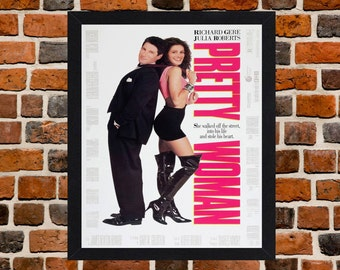 Framed Pretty Woman Julia Roberts & Richard Gere Movie / Film Poster A3 Size Mounted In Black Or White Frame