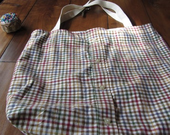 Upcycled Shirt Tote Bag-Multi-Colored Plaid