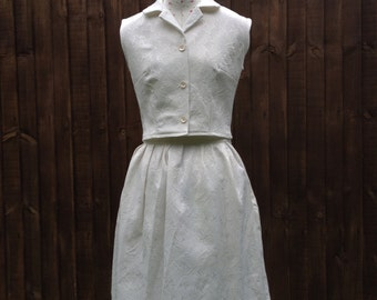 Skirt Suit, eggshell white jaquard, size 10