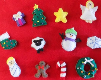 Mini hand sewn felt Christmas ornaments