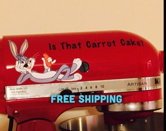 Bugs Bunny Vinyl Decal Is That Carrot Cake? Perfect for Kitchenaid Mixer