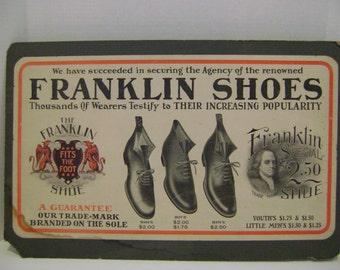 Vintage Cardboard Franklin Shoe Sign