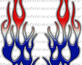 """Red White Blue Flames 12"""" Decal Stickers Graphics 3M Material High Quality with UV Protection"""