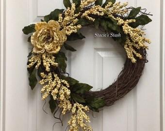 Grapevine Wreath, Front Door Wreath, Fall Wreath, Rustic Wreath, Cream Wreath