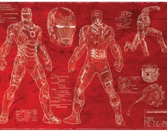 Ironman Mk42 Suit Blueprint [red print] (A2 = 420mm*594 or 16.5' * 23.4')