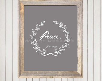 Peace- inspirational scripture print. Instant download!