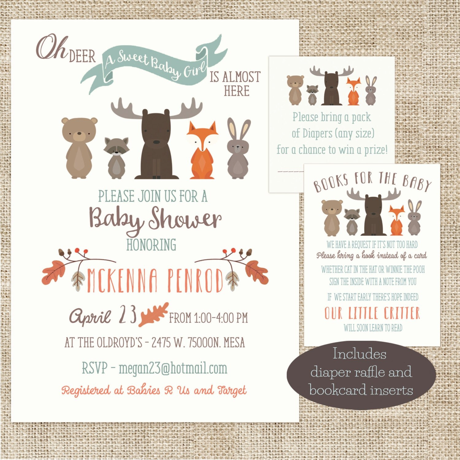 woodland animal girl baby shower invitation