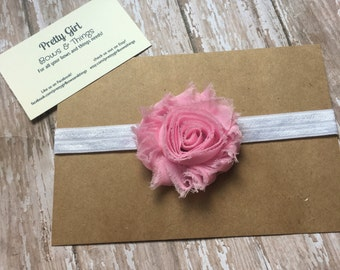 Baby pink shabby flower headband