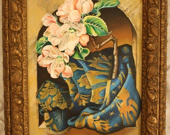 PAINTING flowers with peach blossom and cloth