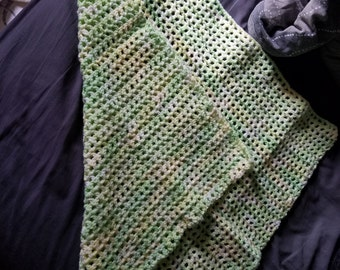 Green and white small blanket