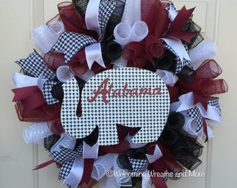 Alabama Deco Mesh Wreath, University of Alabama Wreath, Roll Tide Wreath, Alabama Crimson Tide Wreath