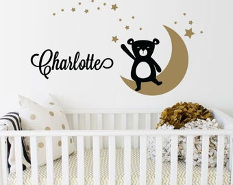 Bear, Moon, Star and Name Decal, Custom Name Decal Nursery or Kids room - Personalized Wall Decal and Wall decor