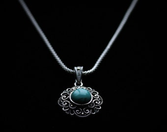 9.25 Silver Turquoise Rossette Necklace with Marcasite