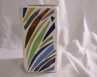 Multi-Color Stained Glass Mosaic Vase