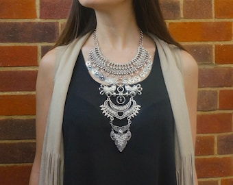 Statement tribal and crystal stone necklace