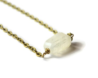 Moonstone Gemstone Necklace - The Terra Collection - Moonstone Necklace - June Birthstone