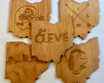 Cleve-land That I Love 5 Pack Etched Wood Coasters