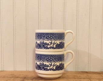 2 Vintage Blue & White  Transferware Coffee Cups Marked USA nesting mugs oriental mugs