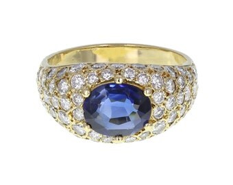 Sapphire and Diamond Bombé Style Ring
