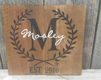 Personalized Name Established Sign, Rustic Wood Wall Art Decor