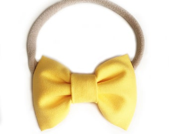 Small Classic Bow Headband // Sunshine Yellow