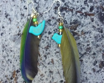 Parrot feather and bead earrings