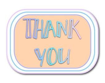 Customised Thank You stickers sheet pastel modern