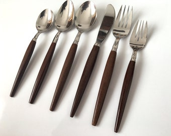 Danish Modern Inspired Flatware | 6 Piece 1 Place Setting | Vintage Silverware | 'American Tempo | Mid Century Flatware | Made in Japan