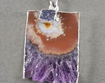 Silver Plated Natural Amethyst & Druzy Pendant w/ 925 Silver Chain