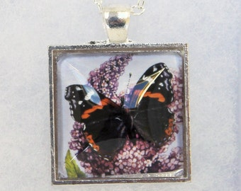 Red Admiral Butterfly pendant