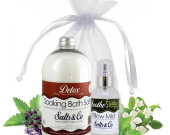 Detox and Soothe - Aromatherapy Bath Salts + Pillow Spray Mist Gift Set - Ginger, Sweet Orange, Lemongrass, Eucalyptus, Frankincense