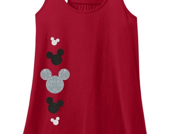 Glitter Mickey Mouse Adult Racerback Tank Top, Disney Mickey Mouse Shirt, Disney Vacation Shirt, Mickey Mouse Tshirt, Mickey Mouse Tank Top