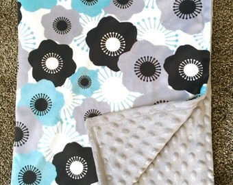 Minky Blue/Grey/Black Flower with minky dot backing