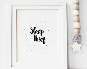 Sleep Thief Monochrome Print - Nursery Print