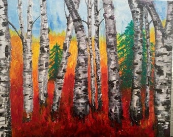 Birch Trees In The Autumn Forest