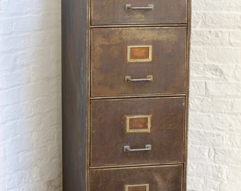 Tannery Reclaimed Vintage Urban Industrial 1940s Stripped Steel 4 Drawer Filing Cabinet - Reclaimed Industrial Furniture by urbangrain.co.uk